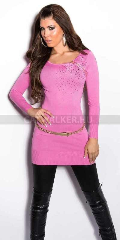 Női pulóver, rózsaszín, masnis, köves