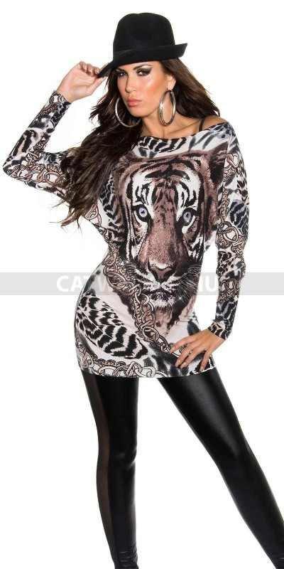 Pulóver, szürke, láncos, tigris mintás